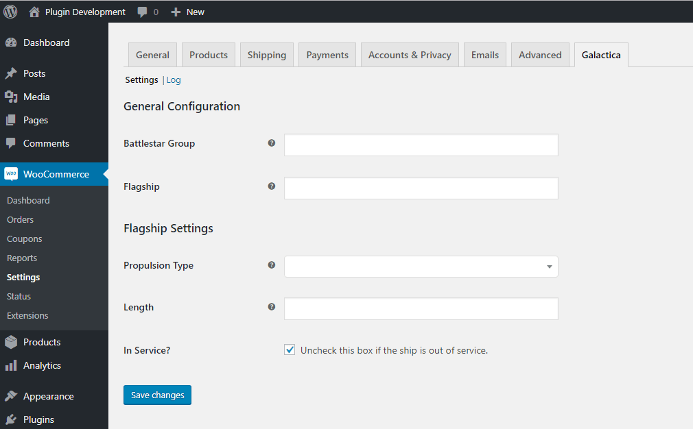 New settings page in WooCommerce