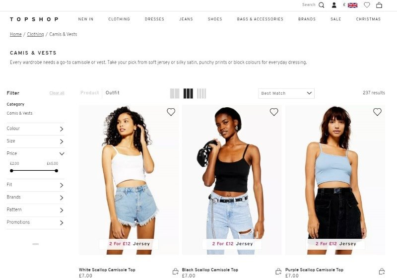 Camis & Vests category page from Topshop