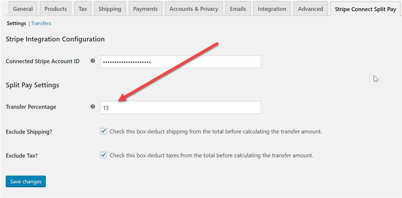Text field to change amount transferred to Stripe Connect Connected Account